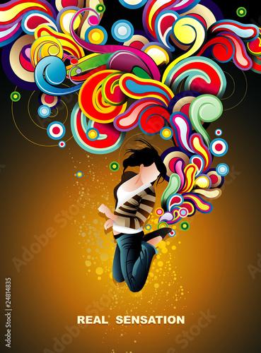 girl jumping vector illustration