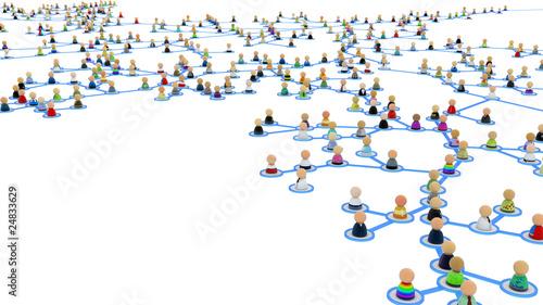 Cuadros en Lienzo Cartoon Crowd Links, Branch Close-up