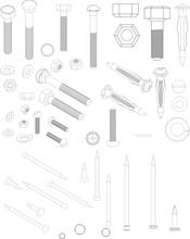 Illustration Of Nails, Bolts A...
