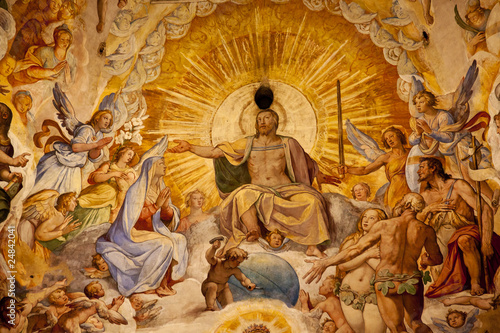 Fotografie, Obraz  Jesus Christ Vasari Fresco Dome Duomo Cathedral Basilica Dome Fl