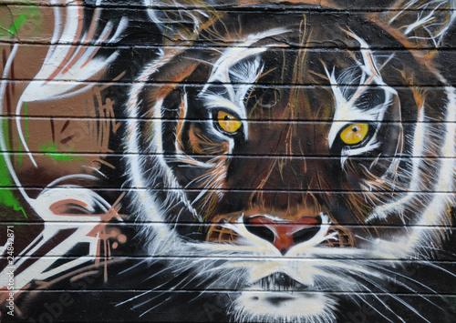 Deurstickers Hand getrokken schets van dieren tigre