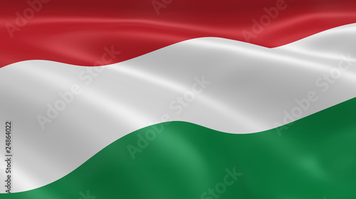Fotografie, Obraz Hungarian flag in the wind
