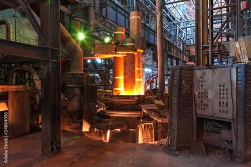 Fototapeta Electroarc furnace at metallurgical plant obraz