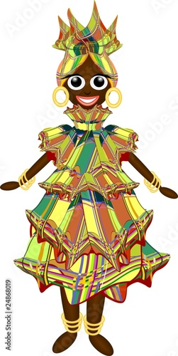 Photo sur Aluminium Draw Bambola Nera Creola-Creole Black Doll