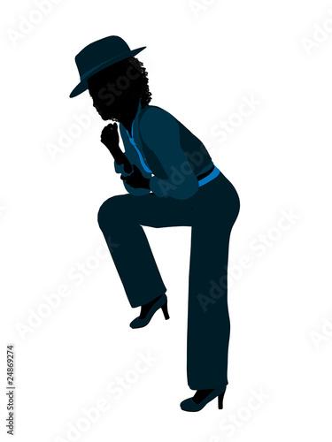 Photo African American Female Jazz Dancer Silhouette