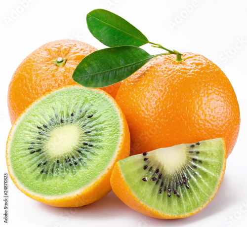 Fotografie, Obraz  Flesh kiwi cut ripe orange. Product of genetic engineering. Comp