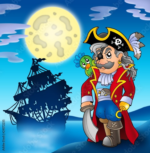Poster de jardin Pirates Noble corsair with ship silhouette