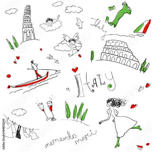Poster Doodle Memories of Italy (seamless set of doodles).