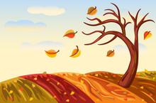 Autumn Landscape In Rich Golden