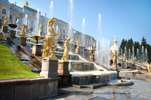 Grand Cascade Fountains At Peterhof Palace, St. Petersburg.