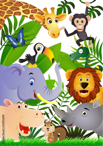Photo sur Aluminium Zoo Animal cartoon