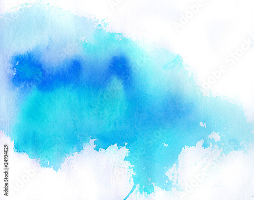 Fotografie, Obraz  Blue spot, watercolor abstract hand painted background