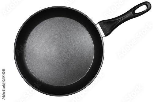 Fotografie, Obraz eine schwarze pfanne auf weissem hintergrund