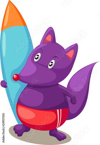 Canvas Prints Fairytale World Cartoon fox with surfboards