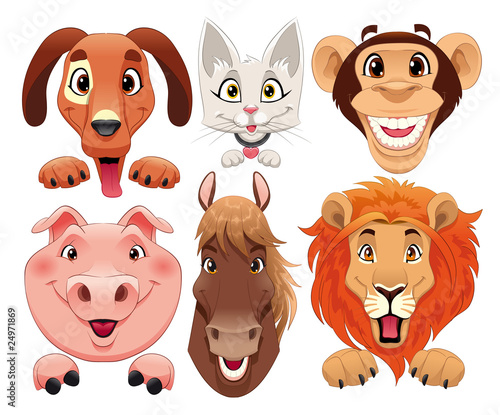 Poster Chambre d enfant Animals portrait. Cartoon and vector isolated characters.