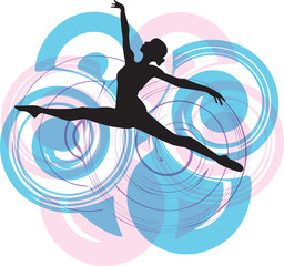 Naklejka Do pokoju młodzieżowego Ballerina jumping