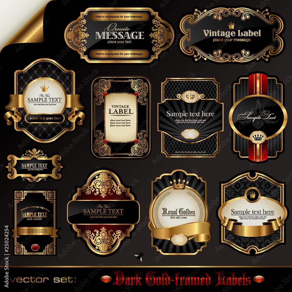 Fototapeta set of black gold-framed labels