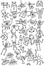 Hand Draw Robots Icon Collecti...