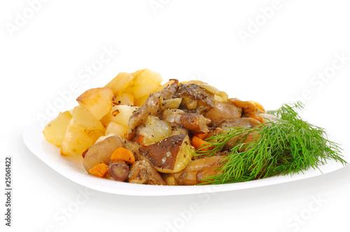 Foto op Aluminium Kip mushrooms with potatoe