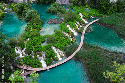 Valokuva  Waterfalls in Plitvice National Park. Aerial view.