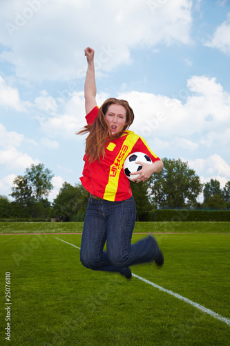 Fussballerin Macht Luftsprung Buy This Stock Photo And