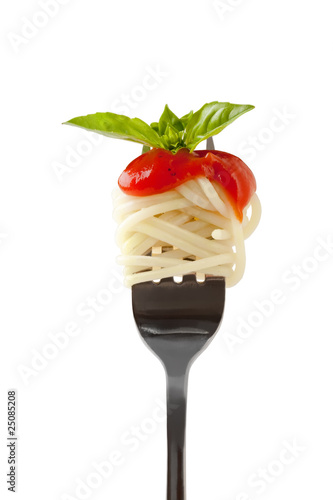 Fotografie, Obraz  Spaghetti with sauce and parmesan cheese on a fork