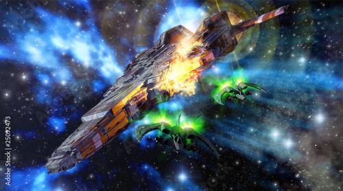 spaceships battle Canvas-taulu
