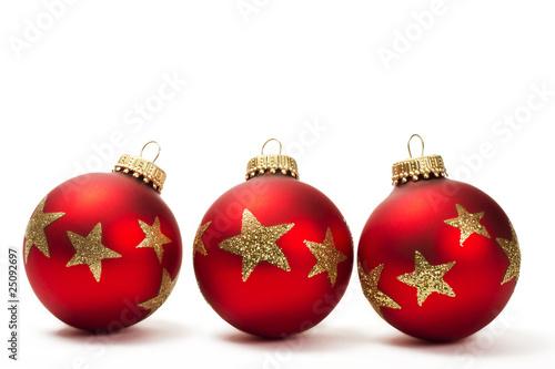 Rote Christbaumkugeln.Drei Matte Rote Christbaumkugeln Mit Roten Glittersternen