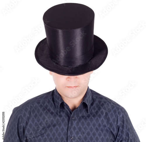 Fotografie, Obraz  Brightly pictures of cheerful man in top hat (cylinder)
