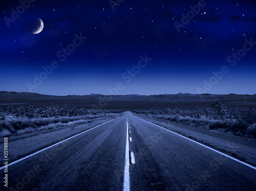 Fotobehang Nacht snelweg Starry Night Road