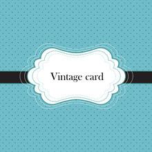Blue Vintage Card, Polka Dot Design
