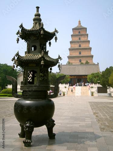 Foto op Plexiglas Xian The Great Goose Pagoda with Incense Burner, Xi'an