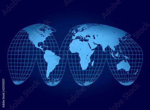 Fotografie, Obraz  globe blue flat with grid