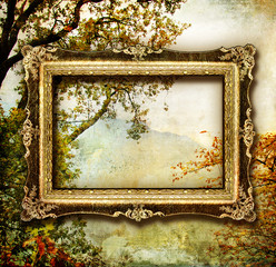 Panel Szklany Krajobraz painted autumn - artwork with blank frame