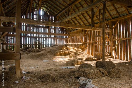 Old barn full of hay Fototapeta