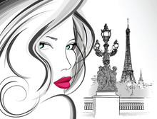 Woman On Alexander III Bridge In Paris