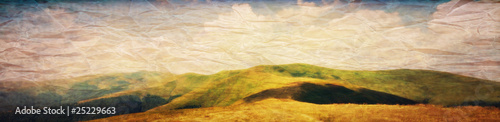 Photographie Grunge panorama of mountain meadows