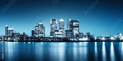 Foto op Canvas London Panoramic picture of Canary Wharf view from Greenwich.