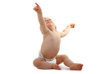 Bébé Assis Qui Montre Du Doigt