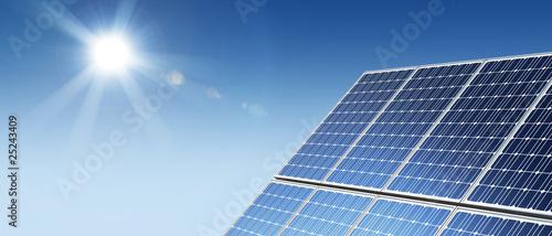 Solar panels panorama sun flare #25243409