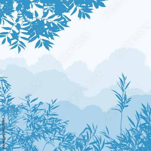 Poster Bleu nuit A Forest Landscape with Trees