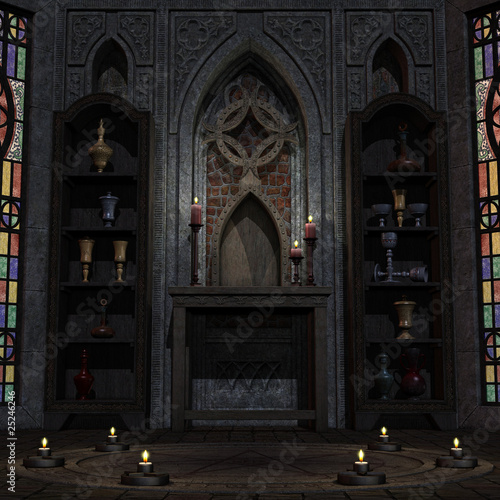 Leinwand Poster archaic altar or sanctum in a fantasy setting. 3D rendering of a