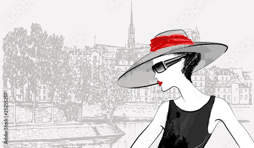 Poster Illustration Paris woman over Ile de la cite and Ile saint Louis in Paris backgroun