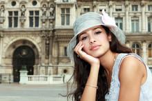 Beautiful Young Woman In A Parisian Plaza