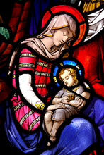 Stained Glass Window With Mary And Jesus