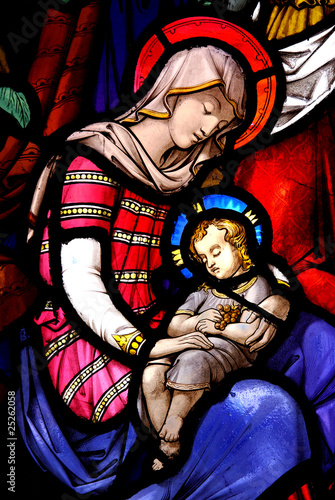 Foto op Plexiglas Bedehuis Stained Glass Window with Mary and Jesus