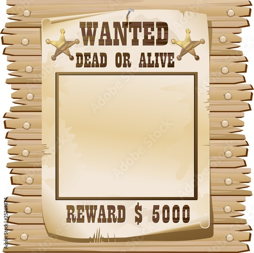 Door stickers Draw Wanted Dead or Alive Poster-Ricercato Vivo o Morto-Vector