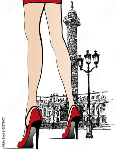 Poster Illustration Paris Woman nearby Vendome column in Paris