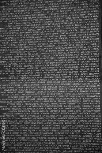 Names of Vietnam war casualties on War Veterans Memorial - Buy this