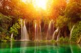 Waterfalls in national park. Plitvice, Croatia